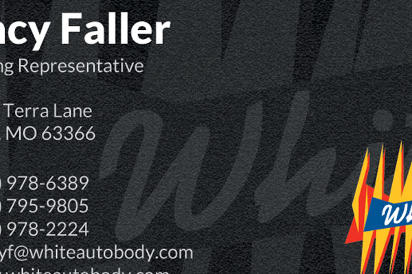 White Auto Body Business Cards