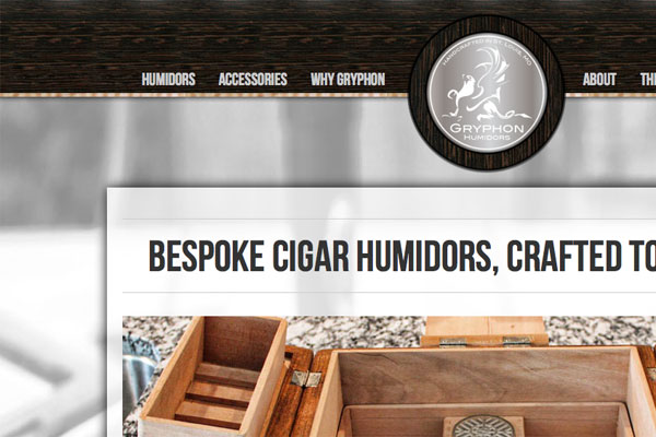 Gryphon Humidors Website Screenshot