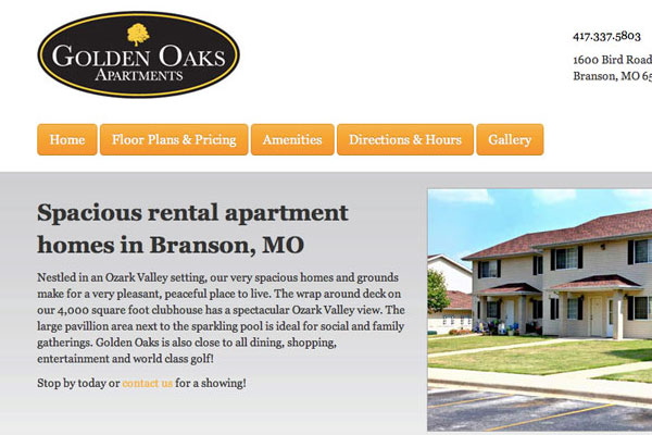Golden Oaks Apartments Website Screenshot