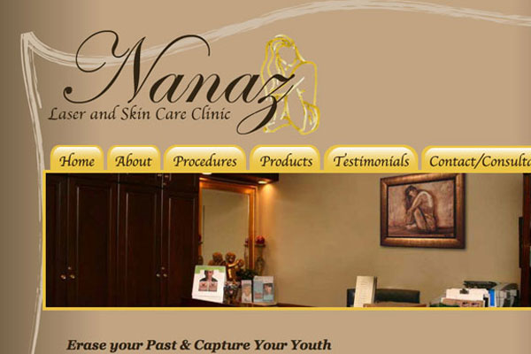 Nanaz Laser and Skin Care Clinic Website Screenshot
