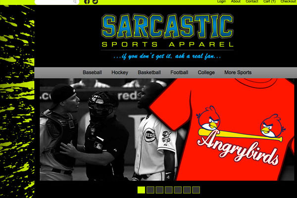 Sarcastic Sports Apparel Website Screenshot