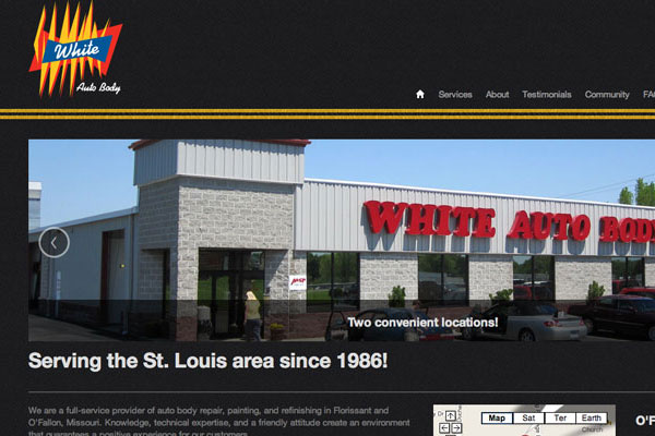 White Auto Body Website Screenshot